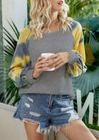 Tie Dye Splicing Long Sleeve Blouse