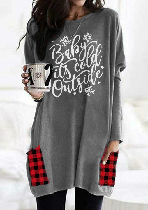Baby It's Cold Outside Snowflake Plaid Pocket Blouse - Gray