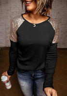 Sequined Splicing O-Neck Long Sleeve Blouse - Black