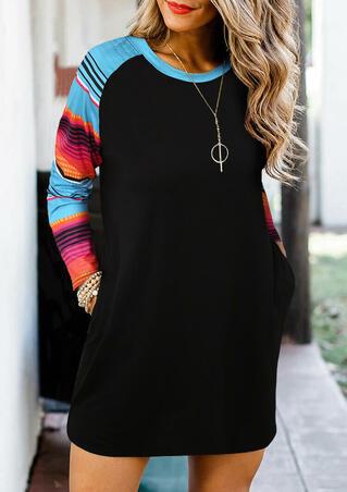 Serape Striped Splicing Pocket Mini Dress - Black