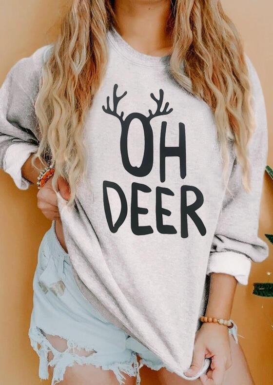 Oh Deer O-Neck Sweatshirt - Gray