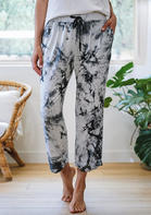 Tie Dye Pocket Drawstring Casual Pants