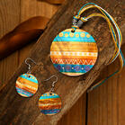 3Pcs Colorful Geometric Round Shell Necklace and Earrings Set