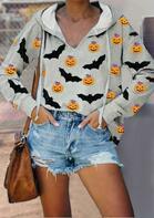 Halloween Pumpkin Face Bat Drawstring Hoodie