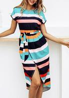Colorful Striped Splicing Slit Asymmetric Casual Dress