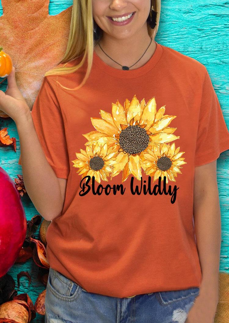 Bloom Wildly Leopard Sunflower O-Neck T-Shirt Tee - Orange