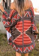 Aztec Geometric Off Shoulder Batwing Sleeve Mini Dress