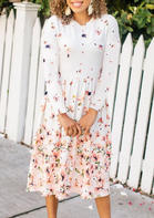 Bellelily coupon: Floral Ruffled Pocket Casual Dress - White