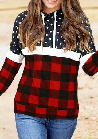 Buffalo Plaid Polka Dot Splicing Drawstring Hoodie