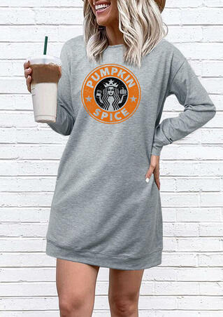 Pumpkin Spice Star Girl Mini Sweatshirt Dress - Gray