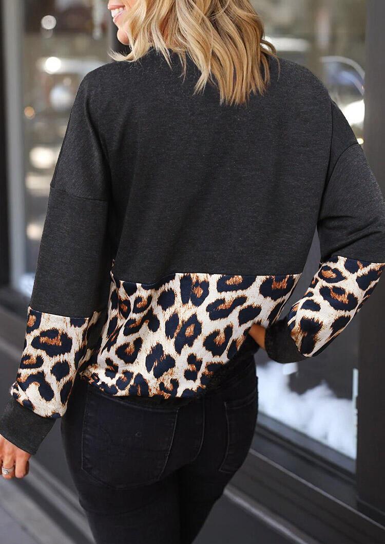 Leopard Splicing Drawstring Pullover Sweatshirt - Dark Grey
