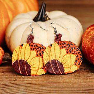 Thanksgiving Plaid Sunflower Leopard Pumpkin Leather Earrings