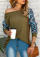 Leopard Splicing Raglan Sleeve Blouse