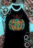 Leopard Pumpkin Thankful & Blessed T-Shirt Tee - Black