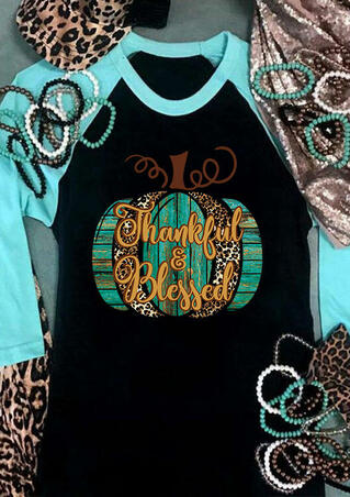Thanksgiving Leopard Pumpkin Thankful & Blessed T-Shirt Tee - Black