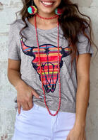 Serape Striped Steer Skull O-Neck T-Shirt
