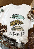 Leopard Be Thankful Y'all Feather T-Shirt