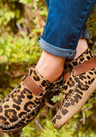 Leopard Buckle Strap Hand Stitched Round Toe Sneakers