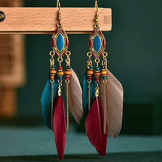 Vintage Bohemian Beading Feather Tassel Earrings