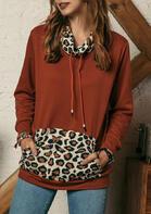 Leopard Splicing Drawstring Kangaroo Pocket Sweatshirt