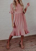 Ruffled Flare Sleeve O-Neck Casual Dress