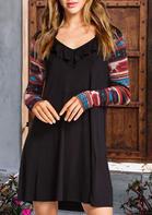 Aztec Geometric Western Cowgirl Ruffled Mini Dress