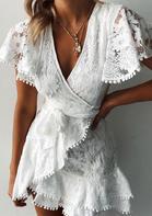Lace Floral Ruffled Wrap V-Neck Mini Dress