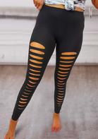 Cut Out Elastic Waist Activewear Sports Leggings
