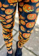 Halloween Pumpkin Face Witch Hat Fitness Leggings