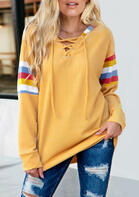 Colorful Striped Lace Up Pullover Hoodie