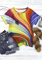 Rainbow Striped O-Neck T-Shirt