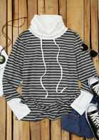 Striped Splicing Drawstring Long Sleeve Blouse