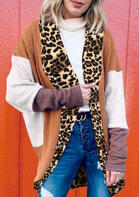 Leopard Splicing Color Block Batwing Sleeve Cardigan