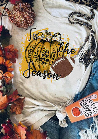 Leopard Pumpkin Football Tis The Season T-Shirt Tee - Light Grey