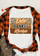Thanksgiving One Thankful Mama Bleached Leopard T-Shirt