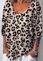 Leopard V-Neck Elastic Cuff Blouse