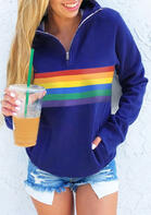 Rainbow Striped Zipper Collar Kangaroo Pocket Sweatshirt