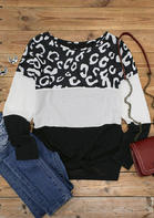 Color Block Splicing Letter Tie Long Sleeve Blouse