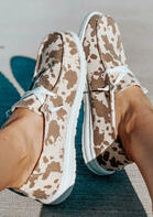 Cow Lace Up Round Toe Flat Canvas Sneakers