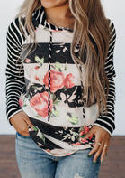 Floral Striped Splicing Drawstring Hoodie