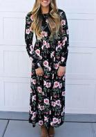 Floral Ruffled Long Sleeve Maxi Dress