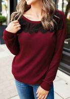 Lace Splicing Knitted O-Neck Sweater