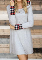 Plaid Splicing Hooded Loose Mini Dress
