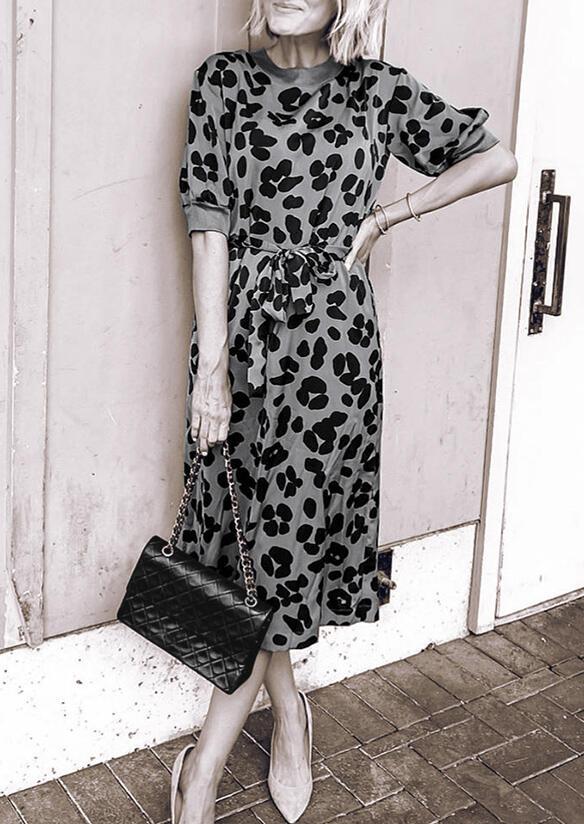 Leopard Splicing Tie O-Neck Midi Dress