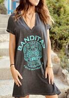 Day Of The Dead Mandala Skull Loose Mini Dress