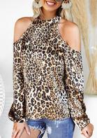 Leopard Cold Shoulder Halter Elastic Cuff Blouse
