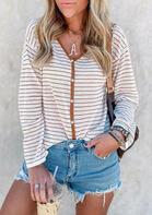 Striped Button Long Sleeve V-Neck Blouse