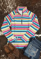 Serape Striped Zipper Collar Sweatshirt
