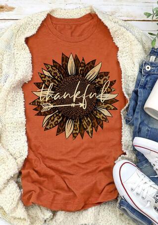 Thankful Leopard Sunflower Arrow T-Shirt Tee - Orange