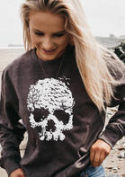 Halloween Skull Forest Long Sleeve Pullover Sweatshirt